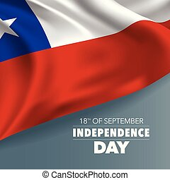 Chile independence day greeting card, banner, vector illustration