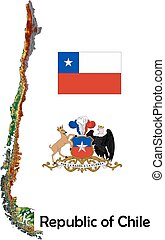 Chile map flag coat