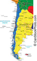 Highly detailed vector map of Chile with administrative regions, main cities and roads.