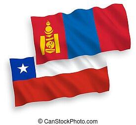 chile, mongolia, fondo blanco, banderas