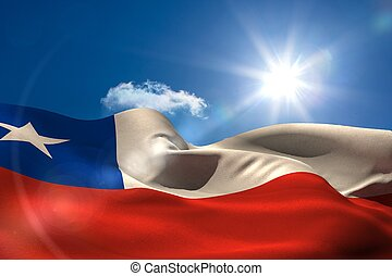 Chile national flag under sunny sky - Digitally generated...