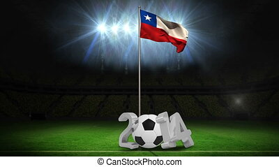 Chile national flag waving on pole with 2014 message on football pitch