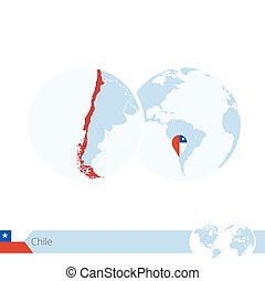 Chile on world globe with flag and regional map of Chile....