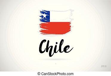chile, país, bandera, concepto, con, grunge, diseño, icono, logotipo