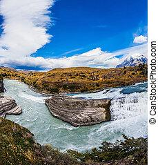 Biosphere Reserve - Chile, Paine Cascades. National Park...