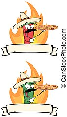Chile Pepper Holds Up Pizza Banner