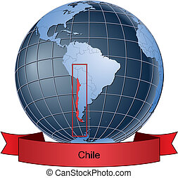 Chile, position on the globe Vector version with separate...