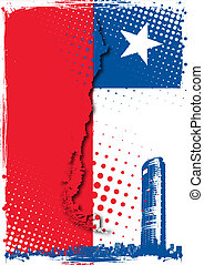 chile poster - titanium building in the chile flag
