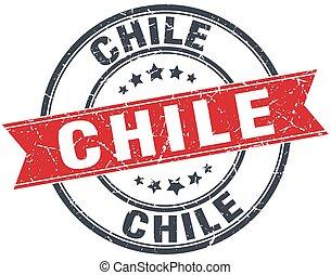 Chile red round grunge vintage ribbon stamp