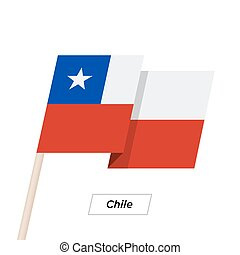 Chile Ribbon Waving Flag Isolated on White. Vector...