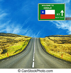 Chile road sign against clear blue sky