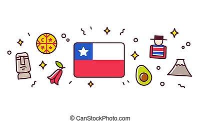 Chile symbols banner illustration - Chile banner design...