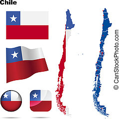 Chile vector set. Detailed country shape with region...