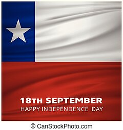 Chile Waving Flag with 18th September Happy Indepenence Day...