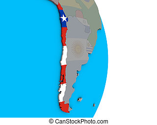 Chile with flag on 3D globe