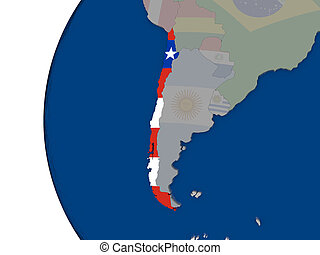 Chile with national flag