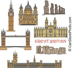 Popular travel landmarks of Great Britain and Chile icon with colorful Windsor Castle, Big Ben, Tower Bridge, St Paul Cathedral, prehistoric monuments of Stonehenge and statues of Easter Island