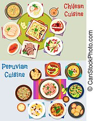 Chilean and peruvian healthy food icon set