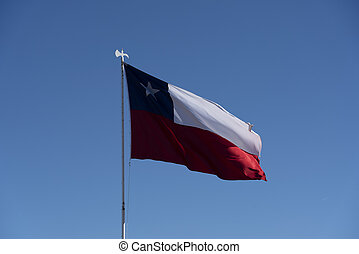 Chilean Flag Flying in a Light Breeze.