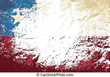 Chilean flag Grunge background. Vector illustration Eps 8.