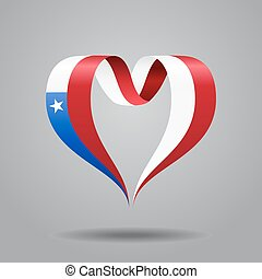 Chilean flag heart-shaped ribbon. Vector illustration. -...