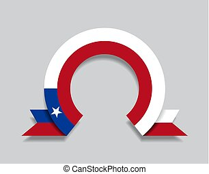 Chilean flag rounded abstract background. Vector...