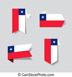 Chilean flag stickers and labels. Vector illustration. -...