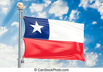 Chilean flag waving in blue cloudy sky, 3D rendering