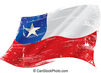 Chilean grunge flag - A grunge Chilean flag in the wind for...