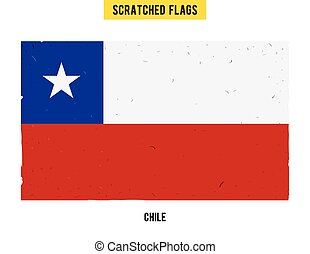 Chilean grunge flag with little scratches on surface. A hand drawn scratched flag of Chile with a easy grunge texture. Vector modern flat design