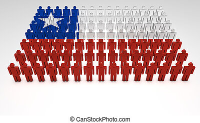 Chilean Parade - Parade of 3d people forming a top view of...