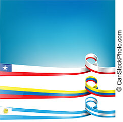 chilean, uruguayan and colombian ribbon flag on background