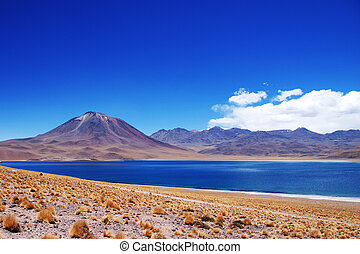 Chilean volcano and lake - Laguna Miscanti located at an...