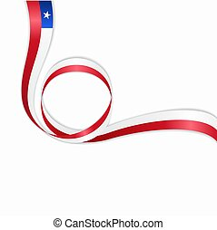 Chilean wavy flag background. Vector illustration. - Chilean...