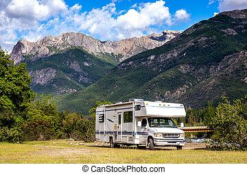 chilei, rv, család, motorhome, utazás, andes., szünidő, hegy, elgáncsol, argentin