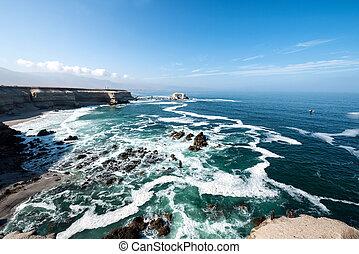 chileno, antofagasta, portada, nacional, la, reserva, formación, litoral, chile, roca, (arch)
