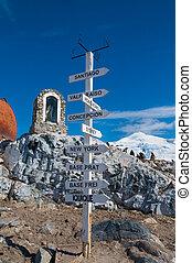 chileno, base, antártida, distancia, poste