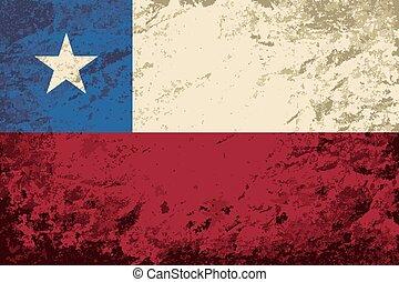 chileno, flag., grunge, fondo.