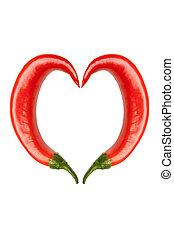 chiles picantes, con, corazón