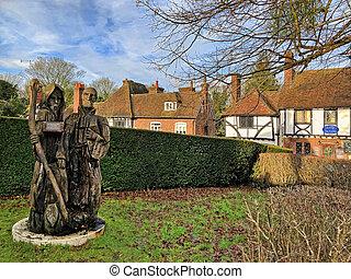 Chilham, Kent, UK - December 22, 2019:  Pilgrim Milestone ...