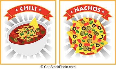 chili and nachos illustration vector