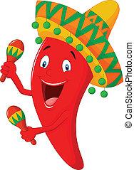 Chili cartoon playing maracas - vector illustration of Chili...