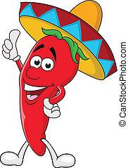 Chili cartoon with sombrero hat
