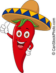 Vector illustration of chili cartoon with sombrero hat
