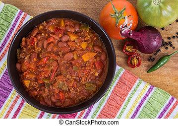 chili con carne, de hoge mening van de hoek