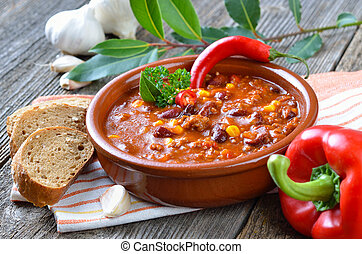 Chili con Carne - Hot chili con carne with kidney beans with...