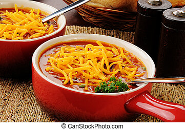 Chili con carne topped with cheese