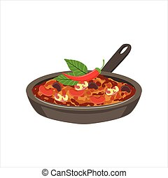 Chili Con Carne Traditional Mexican Cuisine Dish Food Item From Cafe Menu Vector Illustration