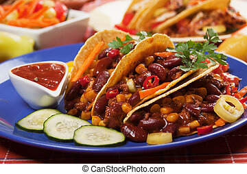 Chili con carne with tortilla chips - Chili con carne served...