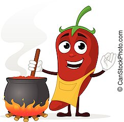Chili Cook - Chili pepper cooking vector cartoon mascot...